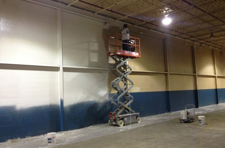 Factory walls painted